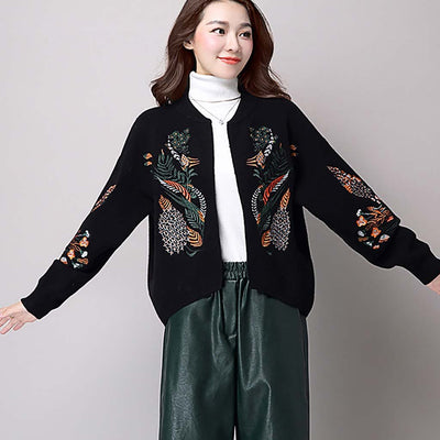 Long Sleeve Round Collar Sweet Floral Embroidery Jacket
