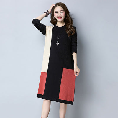 Long Sleeve Round Neck Modern Color Block Dress