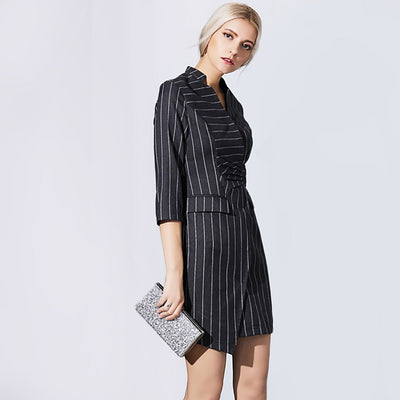 3/4 Length Sleeve Buckle On-Trend Striped Dress
