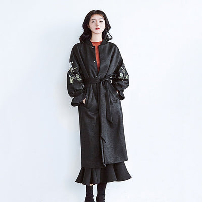 Flounce Sleeve Round Collar On-Trend Floral Embroidery Coat