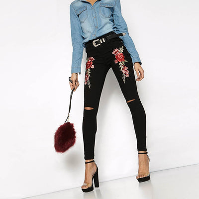 Medium Rise Skinny Fit Sexy Floral Embroidery Jeans