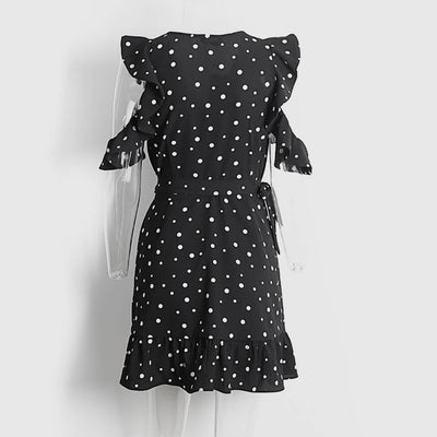 Ruffle Sleeve Cold Shoulder Sweet Polka Dot Dress