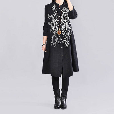 Long Sleeve Mandarin Collar Flattering Natural Print Dress