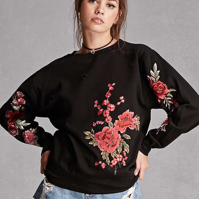 Long Sleeve Round Neck On-Trend Floral Embroidery Sweatshirt