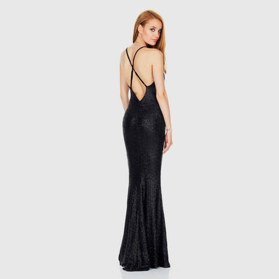 Sleeveless Sequin Party Plain Gown