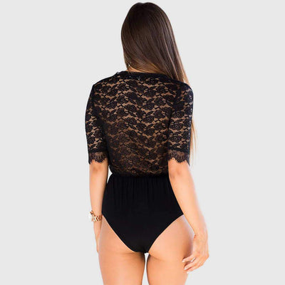 Half Sleeve Lace Sexy Plain Bodysuit