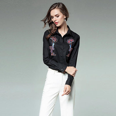 Long Cuff Sleeve Shirt Collar Chic Floral Embroidery Shirt
