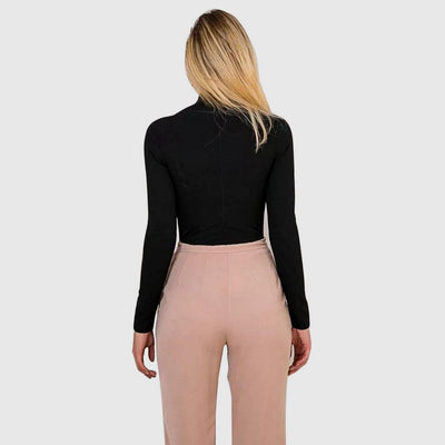 Long Sleeve Cutouts Chic Plain Bodysuit