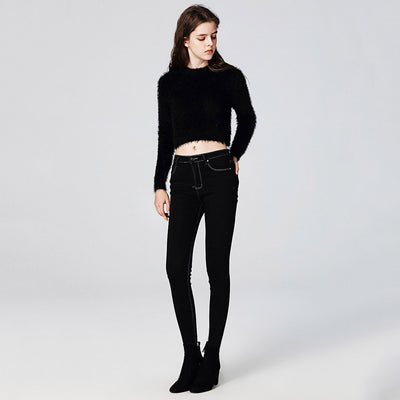 Long Sleeve Round Neck Sexy Plain Sweater