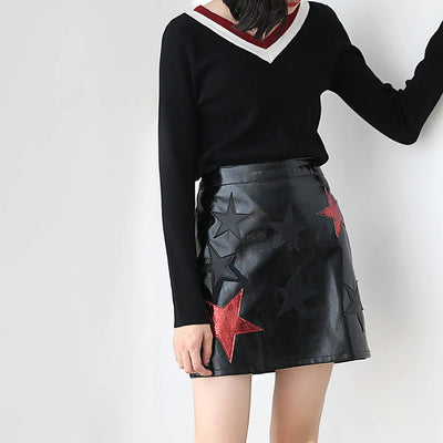 Regular Waist Applique Rocking Graphic Print Skirt