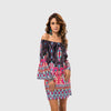 Long Sleeve Off Shoulder Hippy Abstract Print Dress