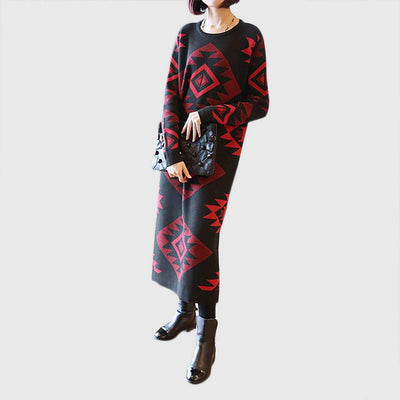 Long Sleeve Round Neck Edgy Geometric Print Dress