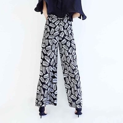 Medium Rise Wide Leg Cool Natural Print Pants