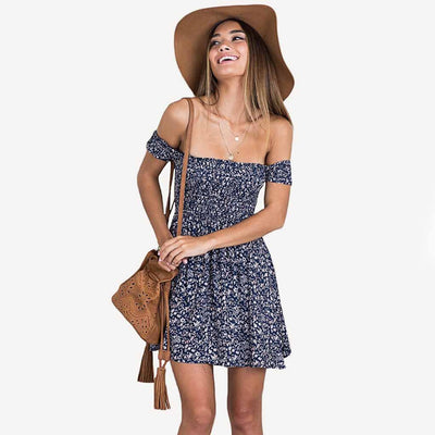 Short Sleeve Off Shoulder Beachy Floral Print Sundress