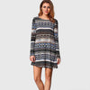 3/4 Length Sleeve Round Neck Tribal Print Shift Short Dress