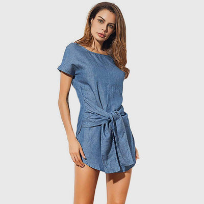 Short Sleeve Bow Chic Plain Dress