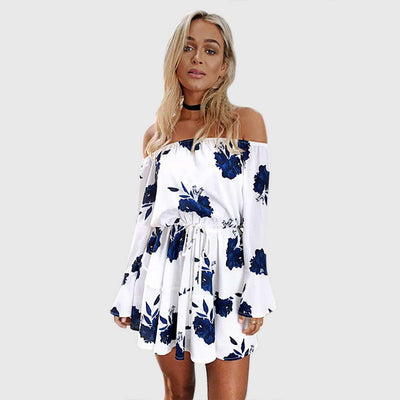Trumpet Sleeve Off Shoulder Sweet Floral Print Dress
