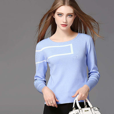Long Sleeve Boat Neck Edgy Geometric Print Sweater