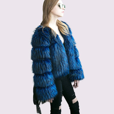 Long Sleeve Collarless Glamorous Faux Fur Jacket