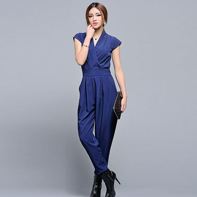 Cap Sleeve V Neck Stylish Plain Jumpsuit