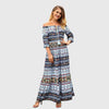 Half Sleeve Off Shoulder Tribal Print Sun Long Dress
