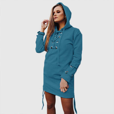 Long Sleeve Lace-Up Urban Plain Dress