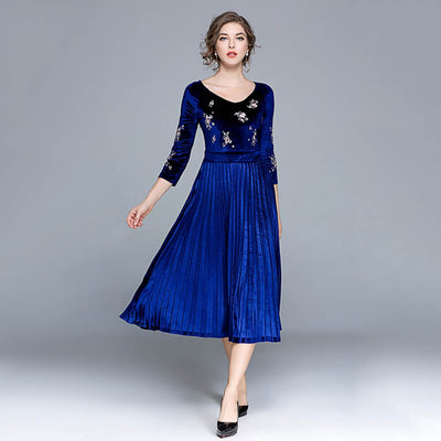 3/4 Length Sleeve V Neck Elegant Floral Embroidery Dress