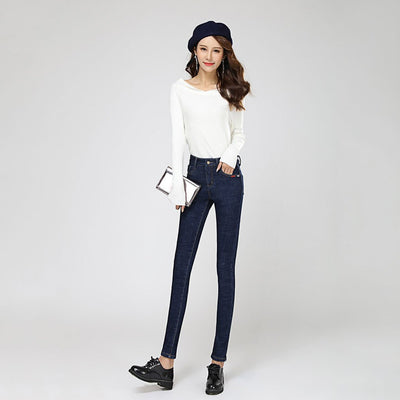 Medium Rise Pockets Basic Plain Jeans
