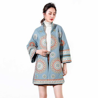 Bell Sleeve Round Collar Boho Floral Embroidery Coat