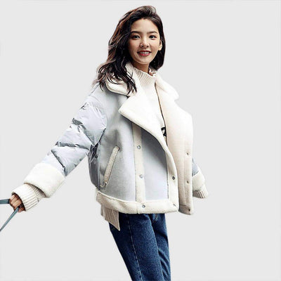 Cuff Sleeve Popper On-Trend Color Block Jacket