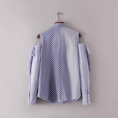 Cuff Sleeve Pocket Cute Gingham Blouse