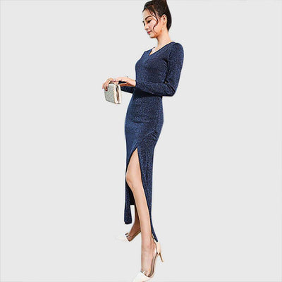 Long Sleeve Slit Chic Plain Dress