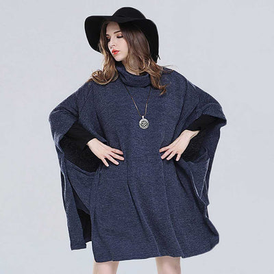 Batwing Sleeve Cowl Neck Flattering Plain Poncho