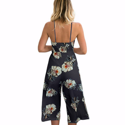Sleeveless Spaghetti Strap Playful Floral Print Jumpsuit