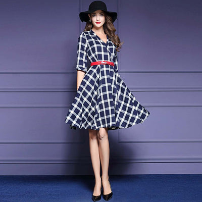 Half Sleeve V Neck Sweet Plaid Dress