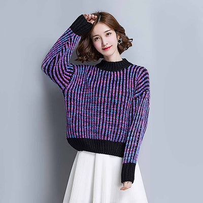 Long Sleeve Round Neck Cute Color Block Sweater
