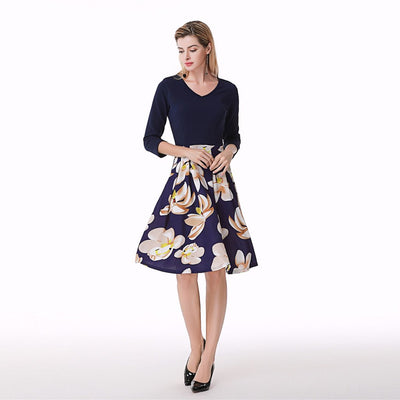 3/4 Length Sleeve V Neck Pretty Floral Print Dress