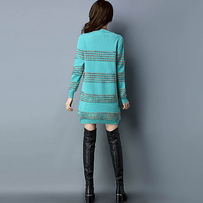 Three Quarter Length Sleeve Trimmed Cozy Zig Zag Dress