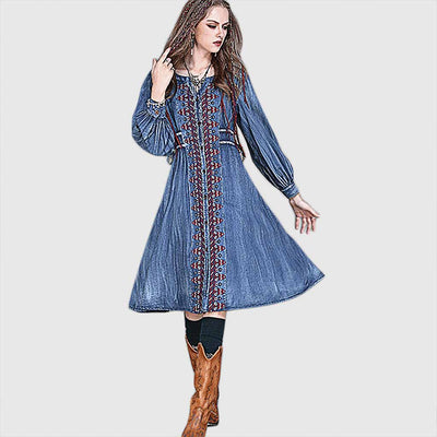 Long Sleeve Bow Boho Tribal Embroidery Dress