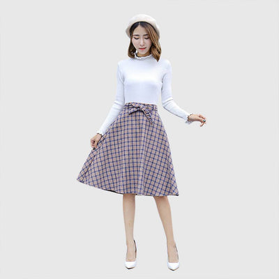 Regular Waist Bow Retro Plaid Skirt
