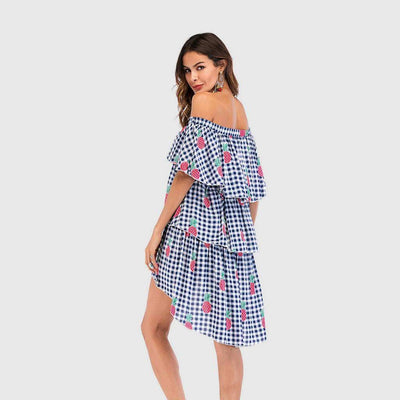 Ruffle Sleeve Off Shoulder Ruffles Gingham Layered Dress