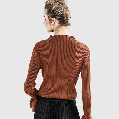 Flounce Sleeve Pearl Stylish Plain Sweater