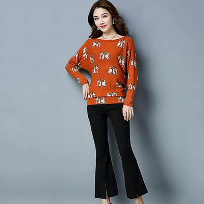 Long Sleeve Boat Neck Hippy Graphic Print Sweater