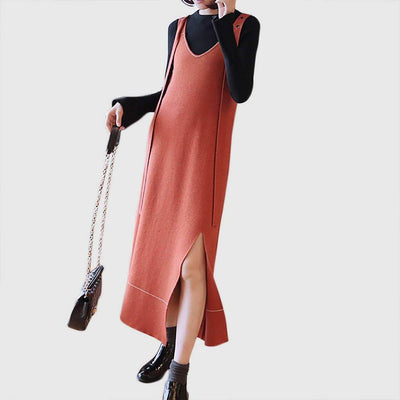 Sleeveless Slit Preppy Plain Dress