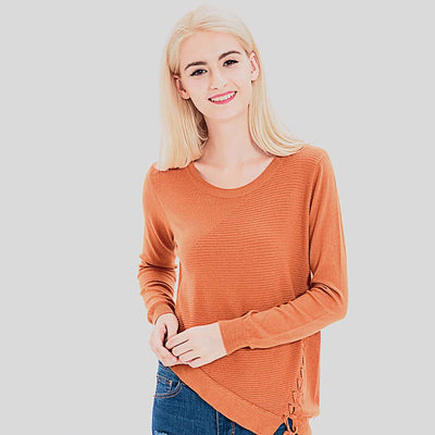 Long Sleeve Lace-Up Basic Plain Sweater