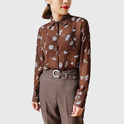 Cuff Sleeve Shirt Collar Sweet Floral Print Blouse