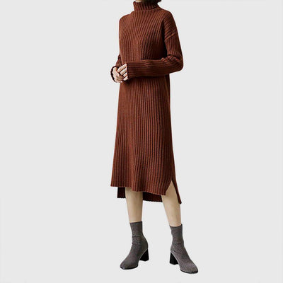 Long Sleeve Polo Neck Chic Plain Dress