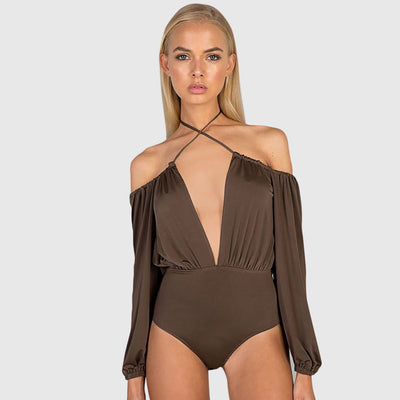 Long Sleeve Deep V Neck Sexy Plain Bodysuit
