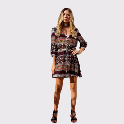 Half Sleeve Drawstring Boho Tribal Print Dress
