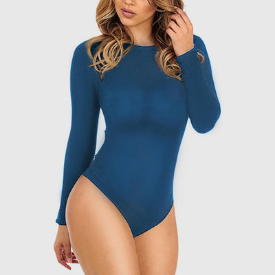 Long Sleeve Cutouts Sexy Plain Bodysuit